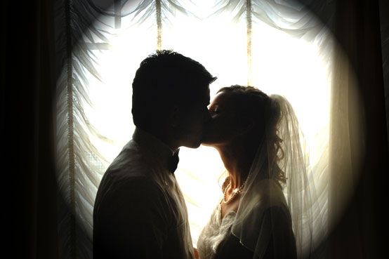 couple kissing silhouette image. story telling fashion,